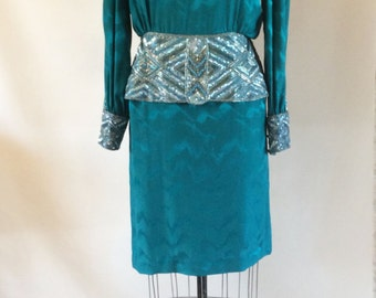 Vintage Dore' dress, beaded dress, vintage dress, 80's dress, blue dress, size 12 dress, formal dress, teal dress, peplum dress, silk dress