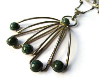 Vintage modernist Eilat stone necklace, Israeli 925 sterling silver pendant and chain, dramatic statement necklace, green stone Israel #763.