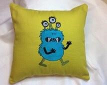 """12"""" x 12"""" Decorative Monster Pillow, monster decor, monster accents, creature pillow, horror pillow, halloween decor, monster pillow sham"""