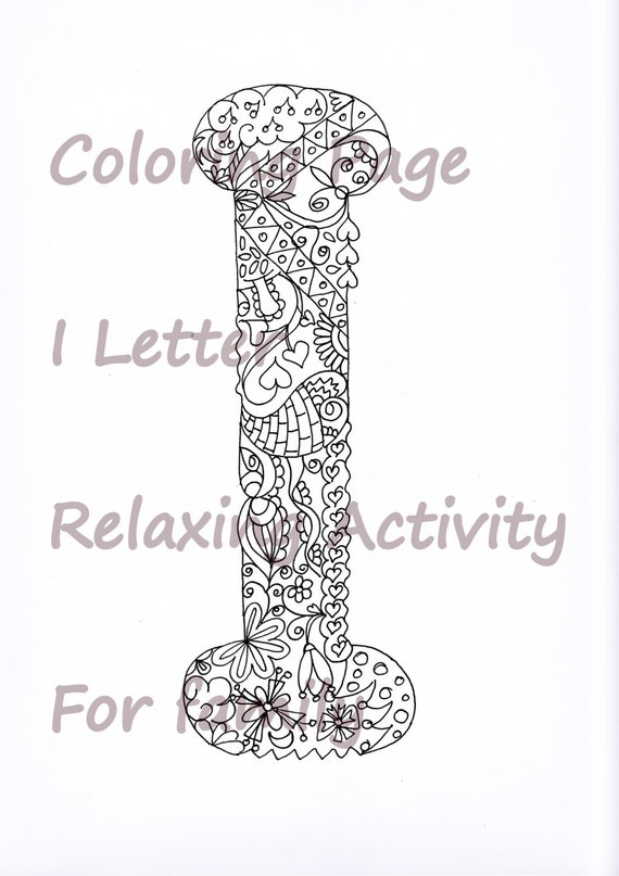 letter i colouring page  zentangle art inspired  adults