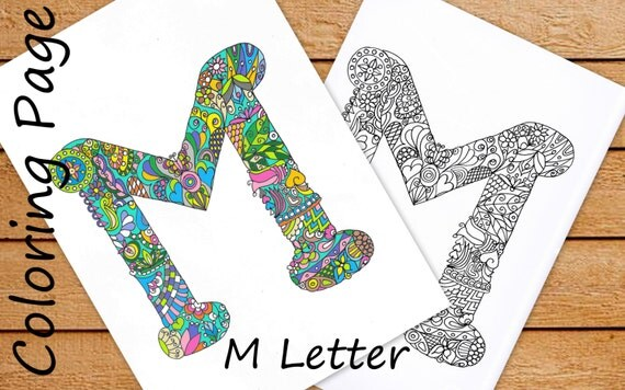 Letter M Colouring Page, Zentangle Art Inspired, Adults
