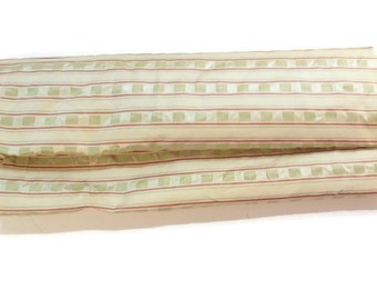 Fabric by Bengal House  Jacquard Stripe Celadon/Beige Wine Silk Punerma Collection