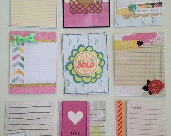 Handmade project life card set! Pretty in pink and aqua