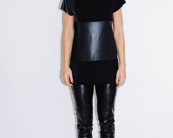 Leather T-shirt/ Unique top/ Leather blouse/ Leather top/ Shirt with faux leather