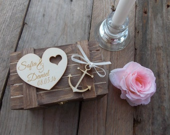 "Ring Bearer Box ""Anchor Heart"" / Wedding / Ring Box / Wedding Box / Vintage / Ring Holder / Rustic / Wood"