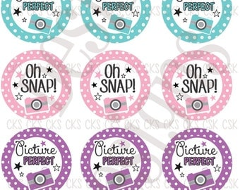 "1"" Digital Bottle Cap Sheet **INSTANT DOWNLOAD** Oh Snap Picture Perfect"
