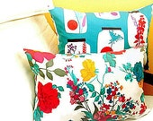 Floral sea lumbar – 14x20 pillow cover – Reversible ocean throw pillow – Custom retro cushion cover – Beach chair outdoor sham accent decor