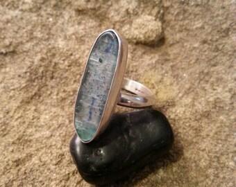 Oblong, freeform  Bluish/Green Kyanite/Sterling Silver Ring size 7