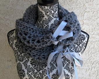 Crochet Women's Elegant Lacy Ribbon Cowl- Gift for her- Gift set- Cowl and Fingerless Gloves