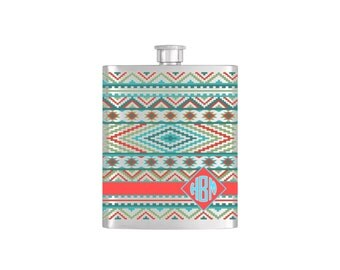 Aztec Southwestern Monogram Personalized Flask By Bottoms Up Flasks  - Stainless Steel 8 oz Liquor Hip Flasks - Flask #392