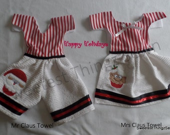 Christmas Towels, Stay Put Stove Towels, Mr and Mrs Claus towels, Christmas Towel Set, Embroidered Christmas Towels, Christmas Santa Towels