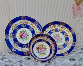 Royal Grafton Tea Trio, Tea Cup, Saucer, Tea Plate, Blue and White, Rose and Gilt Bone China, Very Good Condition