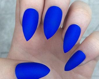 Stiletto nails, fake nails, matte nails, blue press on nails