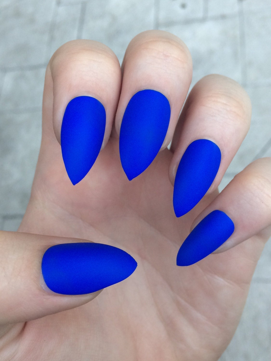 Stiletto Nails Fake Nails Matte Nails Blue Press On Nails: Stiletto Nails Fake Nails Matte Nails Blue Press On Nails
