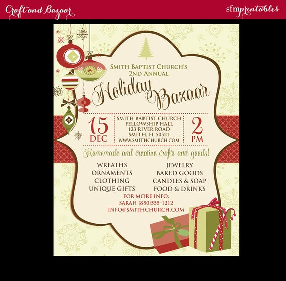 Holiday Craft Fair Christmas Bazaar Invitation Poster / Template ...