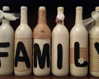 """Upcycled wine bottle """"family"""" set"""