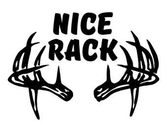 Nice Rack Car Decal w/ Deer Antlers