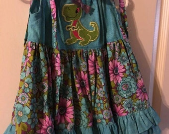 Pillowcase Dress/Olivia Ruffled * Size 1T/with lady dragon and pretty bow