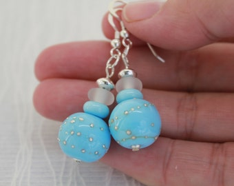 Drop Earrings, Light Blue Earrings, Dangle Earrings, Lampwork Bead Earrings, Sterling Silver Earrings, Blue Glass Lampwork Bead Earrings