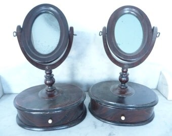 Rare pair of small American antique dresser mirrors with drawers circa 1800-1820