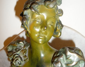 Antique polychrome French Art Nouveau spelter bust – circa 1900