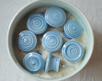 Ceramic handmade cabinet knobs in sky blue (set of 8)