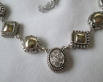 Vintage Silver Gold Tone Necklace with Rhienstones
