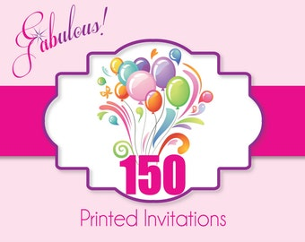 """Printing Services - 150 Printed Invitations with Envelopes - Digital Satin Smooth Cover Stock 5"""" x 7"""" or 4"""" x 6"""""""