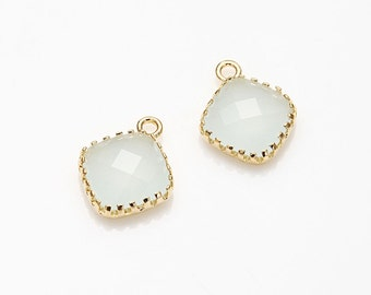 Alice Blue Square Glass Connector Polished Gold -Plated - 2 Pieces [G000301-PGAB]