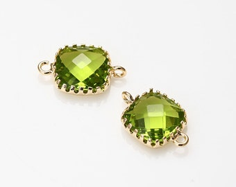Dark Apple Green Square Glass Connector Polished Gold -Plated - 2 Pieces [G0003-PGDAG]