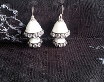 Two tiered white and black  quilled earrings, quilled jhumka earrings, paper earrings