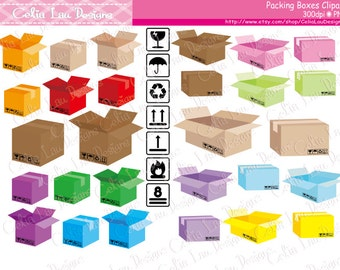 Shipping Boxes digital clipart,  Packing Boxes clip art (CG189)