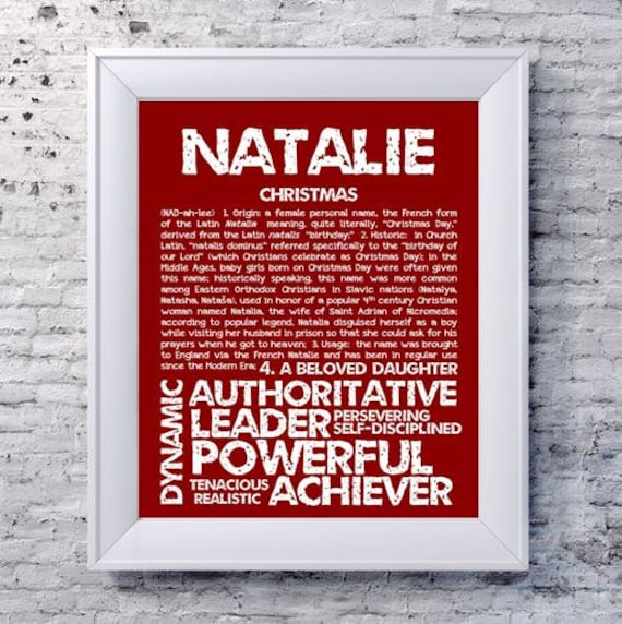 Natalie Personalized Name Print Typography Print Detailed