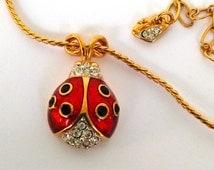 Swan Signed SWAROVSKI Gold Plated Enamel Ladybug Pendant  Red Enamel Ladybug Pendant