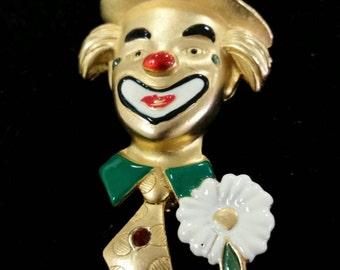 Signed vintage clown brooch