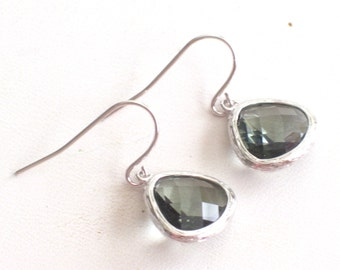 Grey Silver Earrings, Charcoal Glass Earrings, Minimalist Earrings, Everyday Earrings, Simple Earrings, Rhodium Glass Drops, Gray Glass Drop
