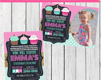 Cupcake War Personalized birthday invitation- Stripes ***Digital File*** (Cupcake-mint56)