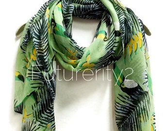 Tropical Toucans Light Green Spring Scarf / Summer Scarf / Autumn Scarves / Women Scarves / Accessories / Gifts For Her