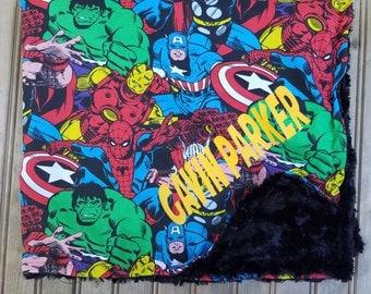 Marvel Comic Baby Blanket, Baby, snuggle fleece, Superhero, Geekery, bib, burp cloth, baby accessories, spider man, hulk, iron man, monogram