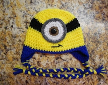 3-6 month one-eyed Minion hat with braids