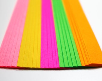 Neon folding paper for lucky stars - 60 paper strips for origami stars
