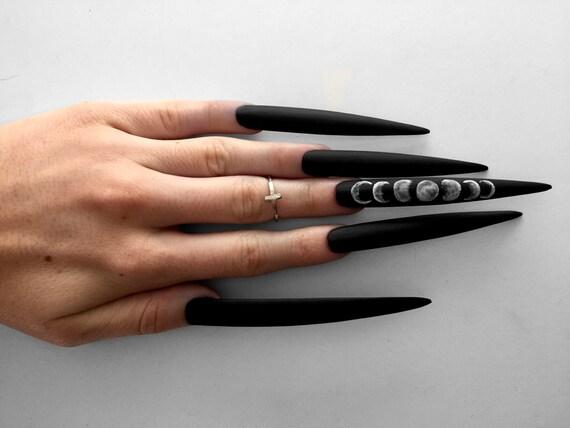 XXXtra Long Moon Phase Matte Black stiletto nails