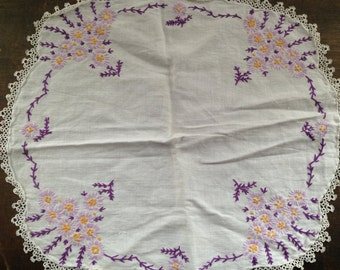 Antique embroidered table napkin Retro Floral table napkin with lace trim Shabby white purple floral table napkin Cottage chic table napkin