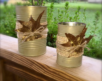 Upcycled Can Organizers, Set of 2, Fall themed