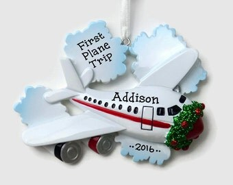 30% OFF SALE - Airplane Personalized Ornament - Pilot - Vacation - Hand Personalized Christmas Ornament