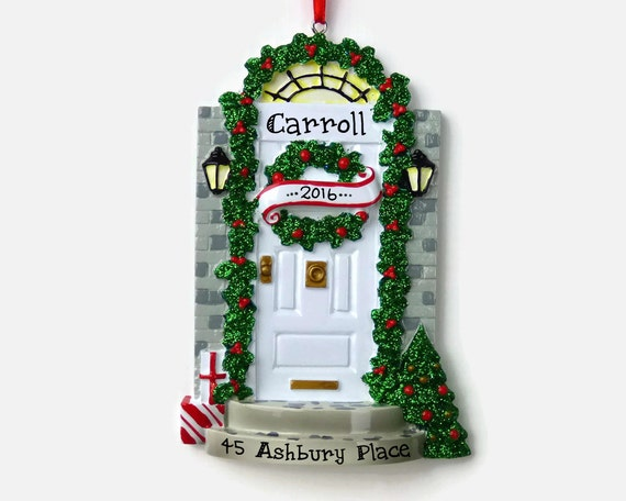 Ships free white door personalized ornament new home for First apartment ornament