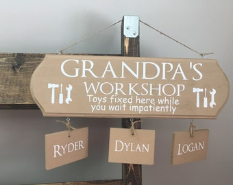 Grandpa's Workshop wood sign with names, grandpa gift, garage decor, mancave, gift for dad, gift for grandpa