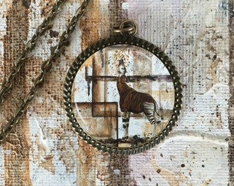Okapi necklace, okapi contemporary camouflage necklace, okapi jewelry, okapi art, wildlife art, wildlife jewelry