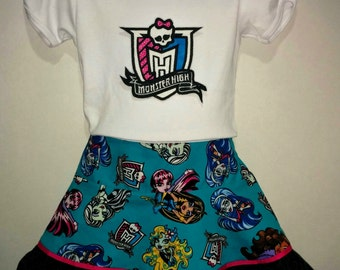 Girls Toddler Monster High Boutique Embroidered Shirt and Twirl Skirt Set Outfit!! Birthday Party! Cleo Draculaura Clawdeen Ghoulia