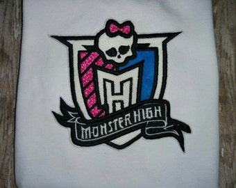 Girls Monster High Emblem Boutique Birthday Party T-Shirt Shirt! Monster Draculaura Frankie Stein Cleo  Toddler Infant Sheild